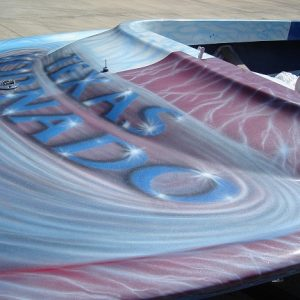 Silver Satin IGhost Pearls ® all over a Jet boat.
