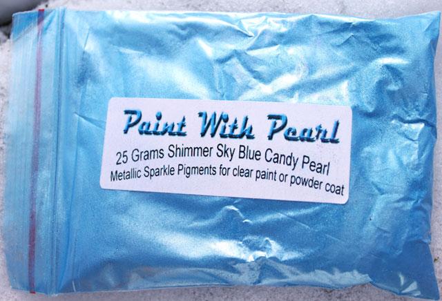 25 gram bag of Shimmer Sky Blue Candy