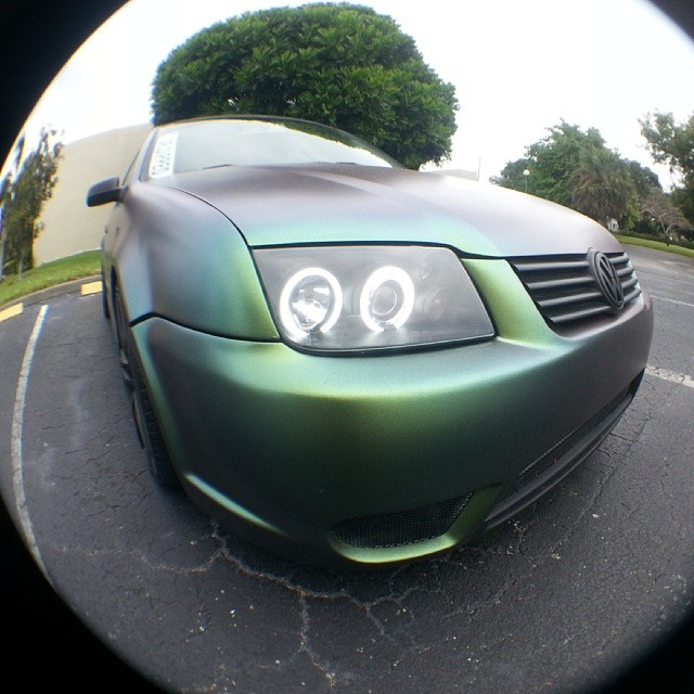 Jetta painted by Dr. Dipped With our Green Gold Indigo Chameleon Pearls
