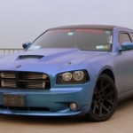 Chameleon Dodge Charger with matte finish Blue to Purple Chameleon Pearls pigment on it.
