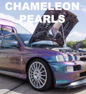 Chameleon Pearls in every multi-color option here. Works in paint, powder coat, even nail polish and shoe polish.