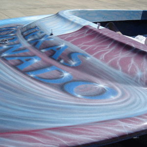 Jet boat airbrushed with Red Wine Candy, Electric Blue, Silver Platinum ghost Pearls ®.