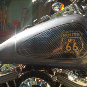 Route 66 Harley. This Bike Painted with a variety of our products, including ghost Pearls ®, flakes, and Candy Pearls ®.
