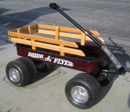 Apple Red metal Flake on Custom Radio Flyer wagon from a user testimonial.