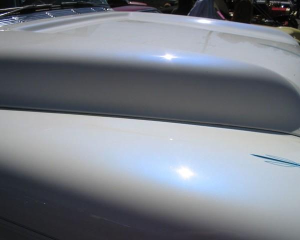 Blue Satin iridescent IGhost Pearls ® on White Hood