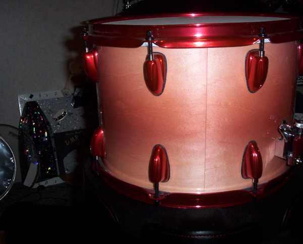 Rose Red Candy Pearls ® on Drum Set by DMR Drums.