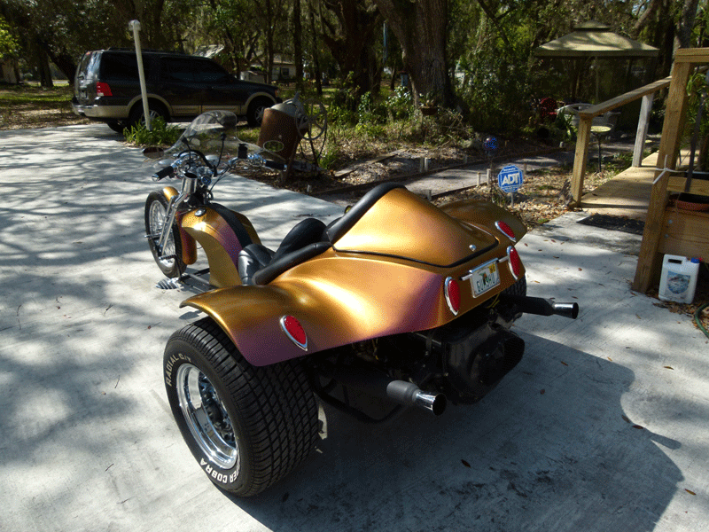 Custom Chameleon Trike Paint Job on a Trike with our 4739OR.