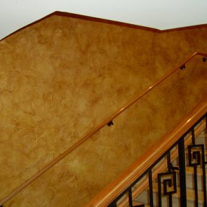Bronze Copper Candy Pearls ® over tan base latex used in Faux Finish Glaze.