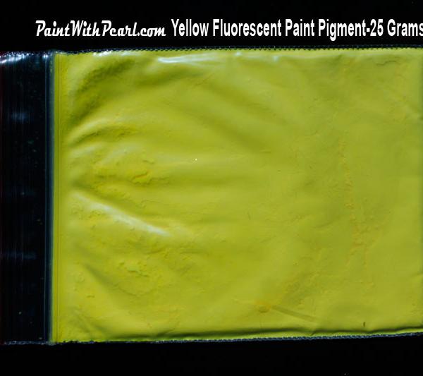 25 gram bag of yellow-fluorescent-paint-pigment