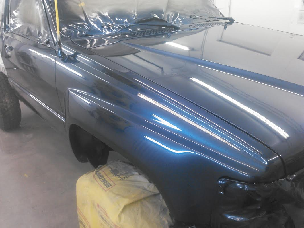 Blue Crystal Pearl on Truck from a few feet away. Prepping your existing paint is important when you are learning how to custom paint.