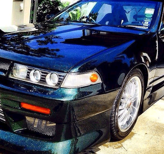 Blue to Green Chameleon Pearls on Nissan Cefiro A31.