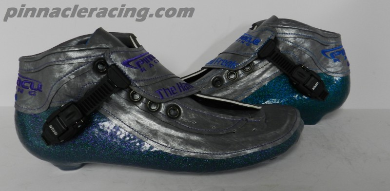 silver and blue metal flake inline speed skate boots