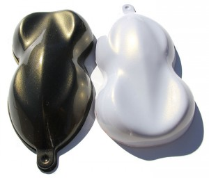 Gold IGhost Pearls ® Shapes painted over both black and white base coats.
