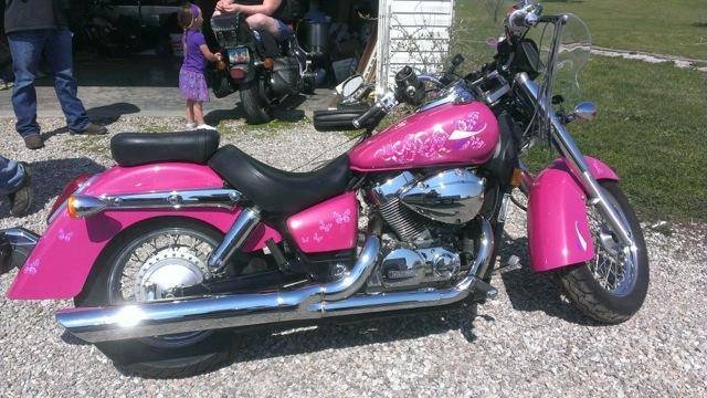 Hot Pink Harley with Silver ghost Pearls ®.