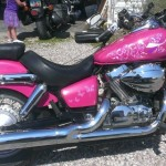 Silver Pearl on a Hot Pink bike