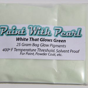 Daytime Picture White Pigment that glows green at night. White to Green Glow in the Dark Pigment.