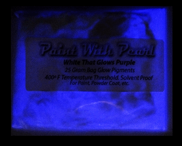 White Glows Purple glow in the dark pigment. Mix into any paint or other coatings.
