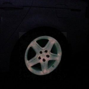 Glow in the Dark Wheel painted with our Pink to Orange Glow in the Dark custom paint Pigment.