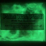 White Pigment that glows green at night. White to Green Glow in the Dark Pigment.